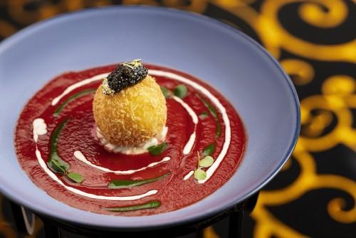 酥炸馬蘇里拉芝士盒配西西里島紅蝦