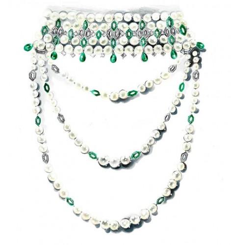 BVLGARI 高級珠寶白金頸鏈,鑲有492 顆圓頂形切割祖母綠寶石,14 顆水滴形祖母綠,長方形鑽石,圓形鑽石和「Akoya」養珠