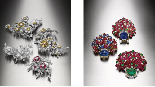 en tremblant 胸針(左)和Giardinetto 胸針(右)是BVLGARI 珍貴的Heritage 系列作品之一